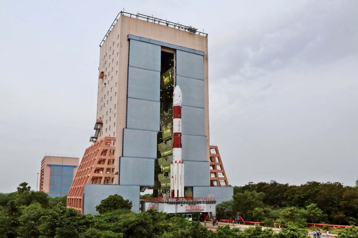 The fully integrated PSLV C34 on its way to the launchpad at Sriharikota. Credit: ISRO
