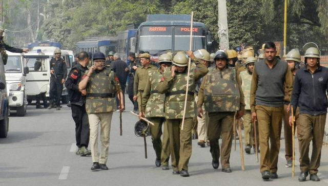 Haryana police during the Jat agitations. Credit: PTI/Files