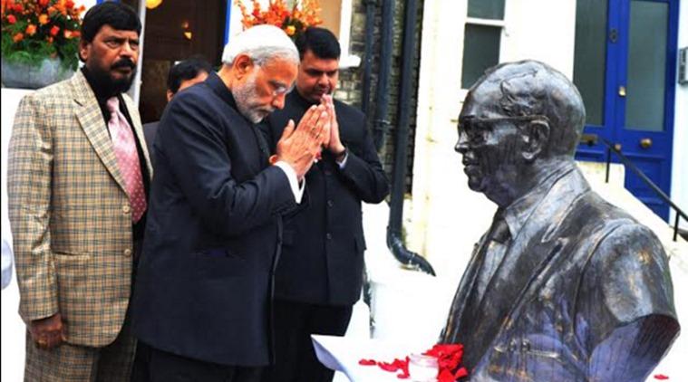 Prime Minister Narendra Modi at the Ambedkar Memorial in London. Credit: PIB/Twitter