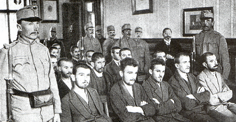 Gavrilo Princip, sitting at the centre of the front row, at his trial on December 5, 1914. Credit: Wikimedia Commons