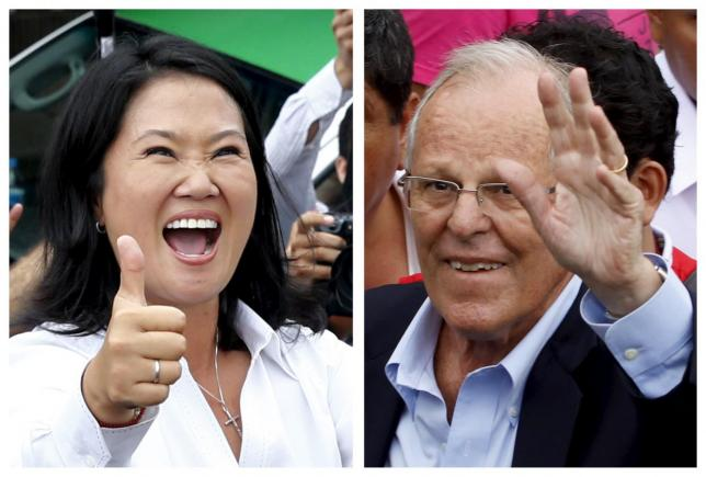 A combination file photo shows Peru's presidential candidates (L-R) Keiko Fujimori after voting and Pedro Pablo Kuczynski arriving to vote, during the presidential election in Lima, Peru, in these April 10, 2016 file photos. Credit: Reuters/Mariana Bazo (L) and Guadalupe Pardo/Files