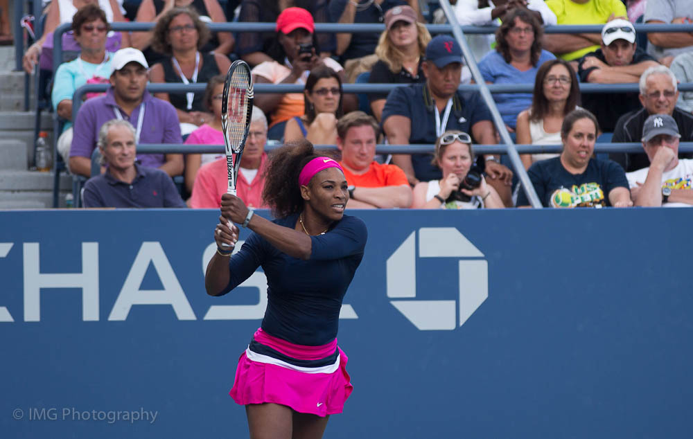 Serena Williams during a game, 2012. Credit: ishot71/Flickr, CC BY 2.0