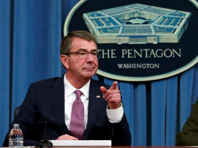 US defense secretary Ash Carter addresses a news conference at the Pentagon in Washington. Credit: Reuters/Yuri Gripas