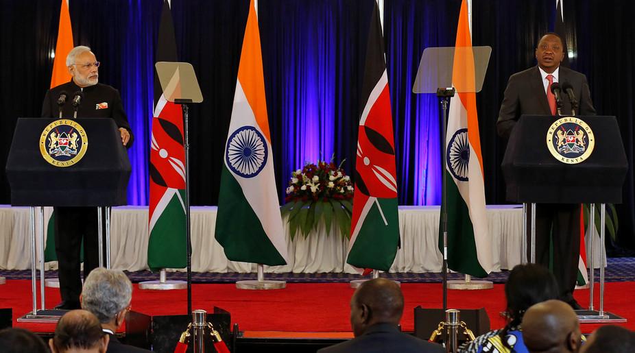 ndian Prime Minister Narendra Modi and Kenyan President Uhuru Kenyatta address a news conference at State House in Nairobi. Credit: Reuters