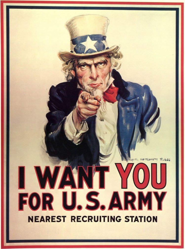 'Uncle Sam' recruiting poster from the Second World War. Credit: Wikimedia Commons