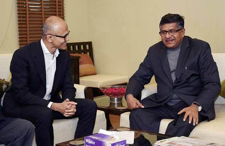 Microsoft CEO Satya Nadella with Information Technology Minister Ravi Shankar Prasad. Credit: PTI