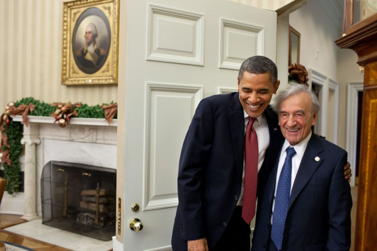 Elie Wiesel with President Barack Obama in the Oval Office, Washington, in December, 2011. Credit: Flickr