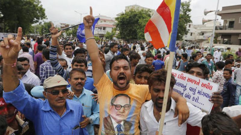 Dalits protesting in Ahmedabad on Sunday. Credit: PTI