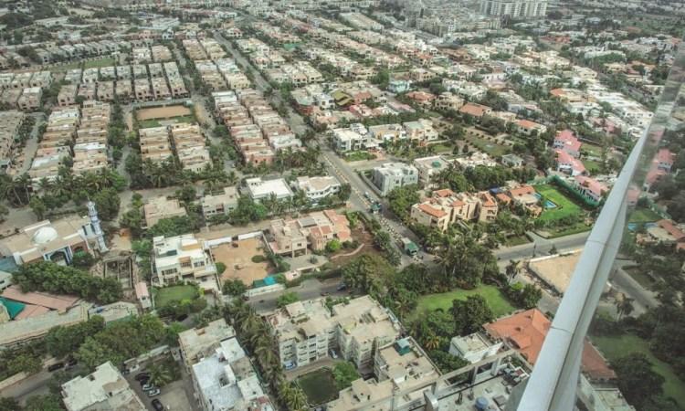 An aerial view of the Navy Housing Scheme in Karachi. Credit: Mohammad Ali, White Star/Herald