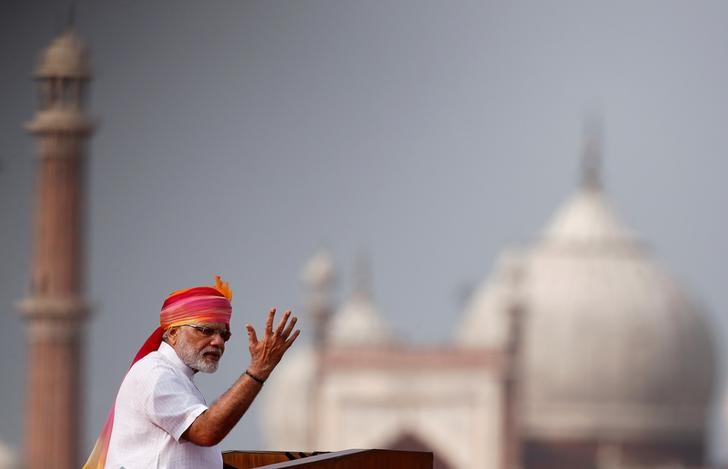 Prime Minister Narendra Modi gestures as he addresses the nation from Red Fort during Independence Day celebrations in Delhi. Credit: Reuters/Adnan Abidi