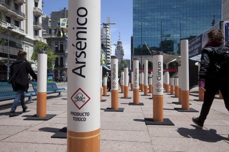 Public display in Montevideo, Uruguay, of the toxins found in tobacco. Credit:Pablo la Rosa/Reuters