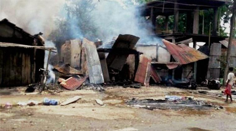 Damaged shops after the Kokrajhar attack on Friday. Credit: PTI