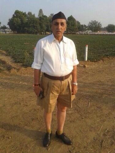 File photograph of Vijay Rupani in RSS uniform.  Credit: Twitter