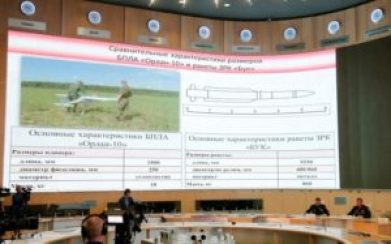 "A screen shows the specifications of the ""Orlan-10"" unmanned aerial vehicle (L) and the ""Buk"" missile system during a news conference, dedicated to the crash of the Malaysia Airlines Boeing 777 plane operating flight MH17, in Moscow, Russia, September 26, 2016. Credit: Reuters/Maxim Zmeyev"
