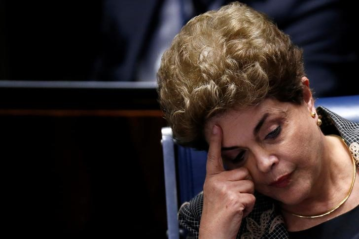 Brazil's suspended President Dilma Rousseff attends the final session of debate and voting on Rousseff's impeachment trial in Brasilia, Brazil, August 29, 2016. Credit: Reuters