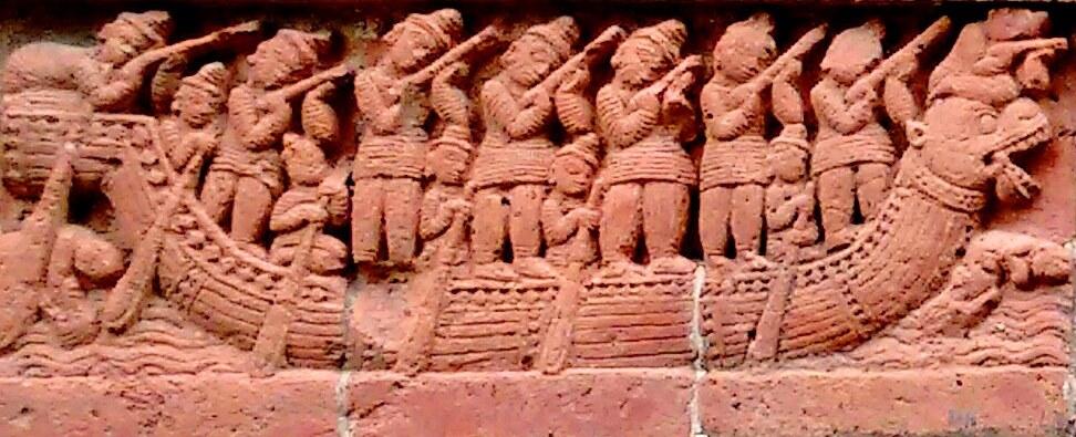 Gunmen on dragon-boat. Detail, middle panel. Credit: Pratyay Nath