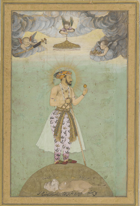 Shah Jahan standing on a globe. Mughal miniature painting, mid-17th century. Credit: Wikimedia Commons