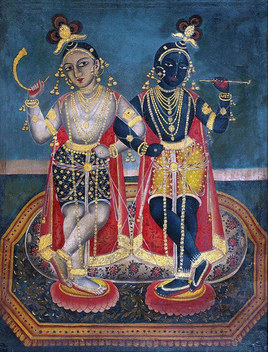 Balarama (L) and Krishna. Detail, Rajasthan, mid-19th century. Courtesy: Pratyay Nath/Pinterest