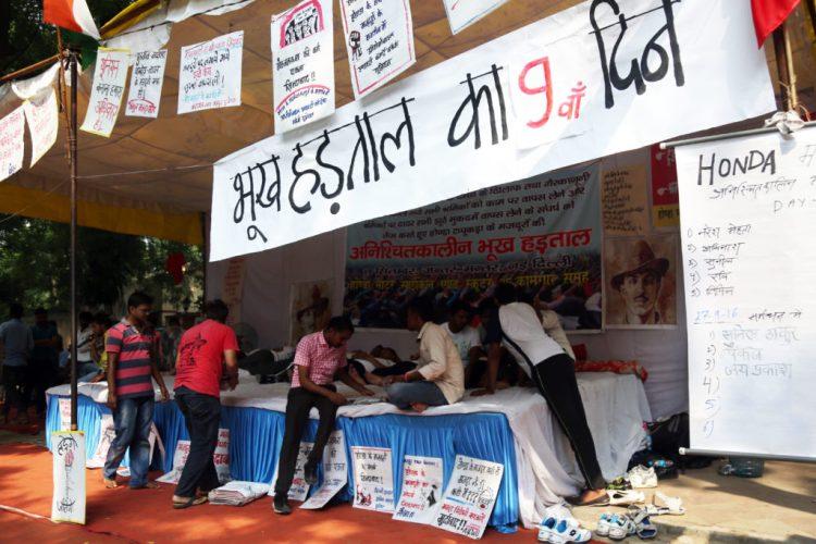 Hunger strike by Honda workers of the Tapukara, Rajasthan plant continues on day nine at Jantar Mantar. Credit: Hina Fathima