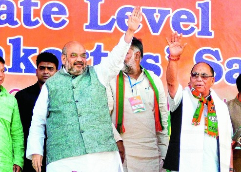 Amit Shah at a booth-level workers meet in Imphal, September 14. Credit: PTI