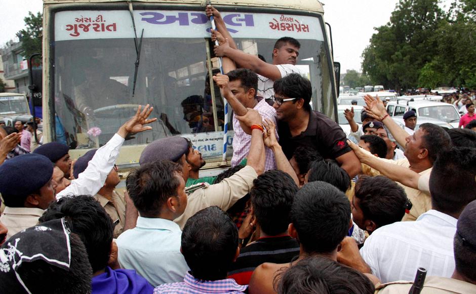 Police detain Dalit marchers in Rajkot, Gujarat in July. Credit: PTI