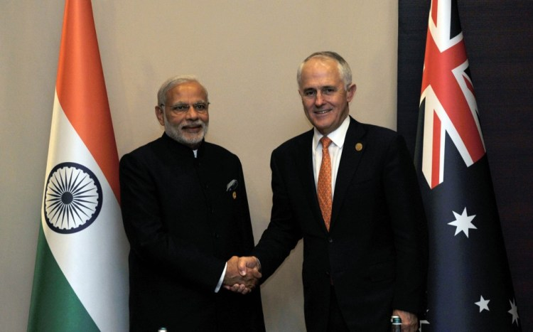 Prime Minister Narendra Modi and his Australian counterpart, Malcolm Turnbull. Credit: PTI