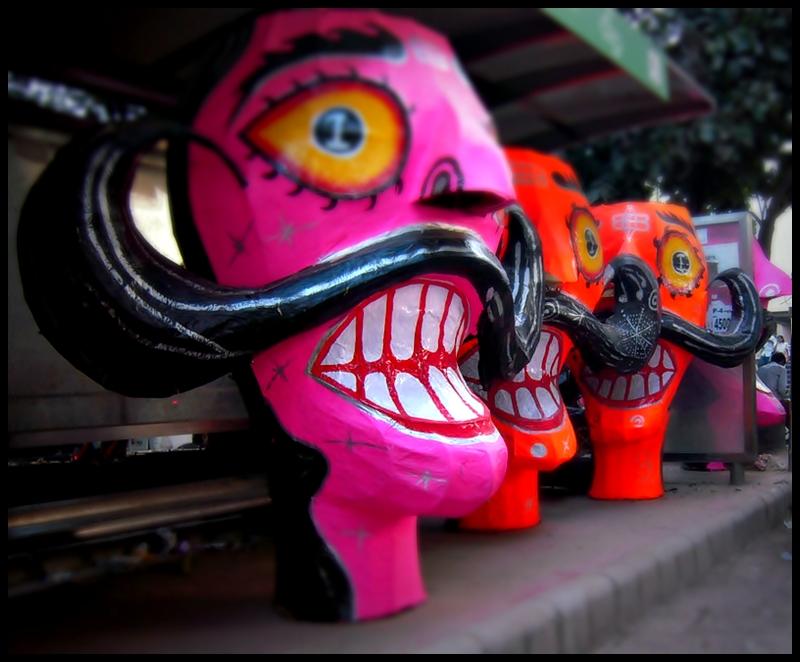 Paper Ravan effigies at Titarpur. Credit: kaniths/Flickr CC 2.0