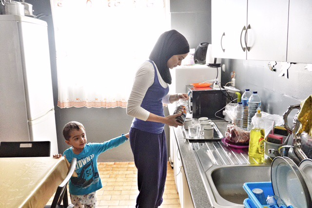 The kitchen of the home they are staying in, belong to a man who was a refugee from Bosnia in the mid-1990s. Credit: Shome Basu