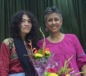 Nandini Sundar (R) with Irom Sharmila. Credit: Special arrangement
