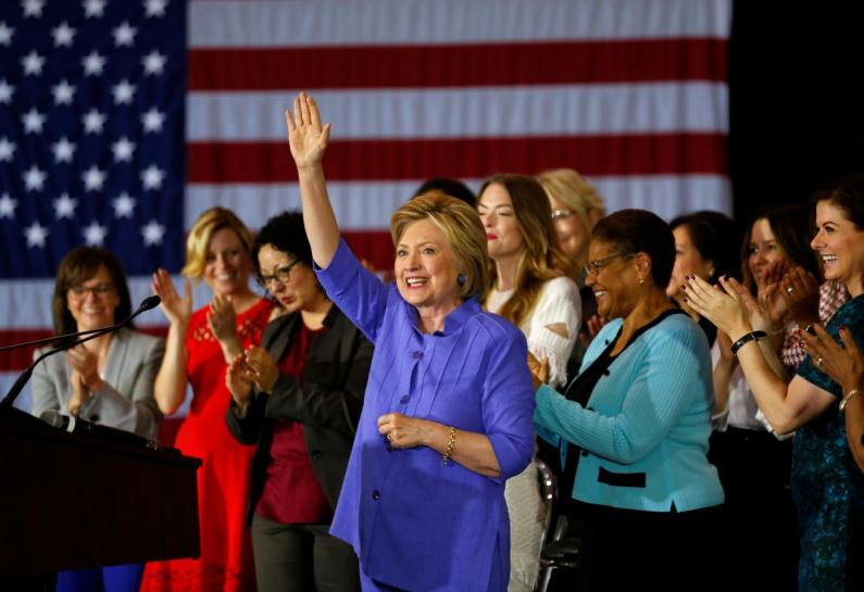 "U.S. Democratic presidential candidate Hillary Clinton waves after speaking at a ""Women for Hillary"" event in Culver City, California, United States June 3, 2016. Credit: Reuters/Mike Blake"