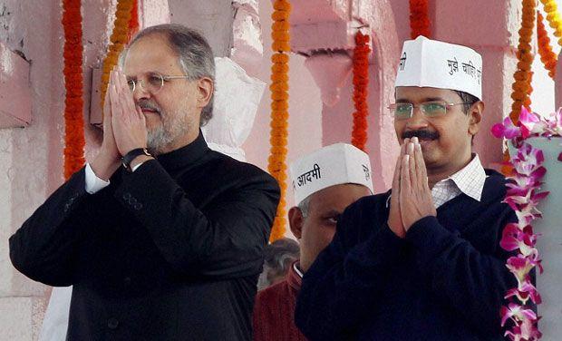 Najeeb Jung and Arvind Kejriwal. Credit : PTI