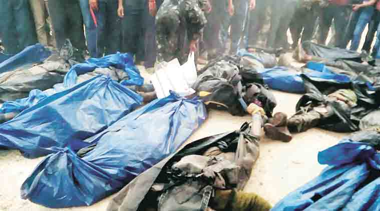 The bodies of Maoists killed in the encounter on Monday. Credit: PTI