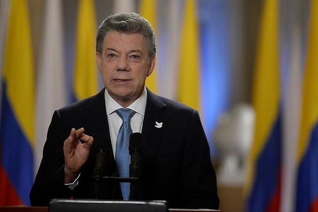 Colombia's President Juan Manuel Santos speaks during a presidential address in Bogota, Colombia, November 12, 2016. Credit: Colombian Presidency/Handout via Reuters