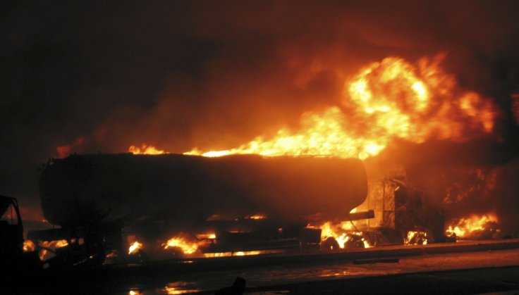A burning fuel tank. Representational image. Credit: Reuters/Files