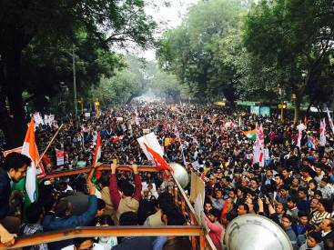 The protest organised by JNU students to demand that the arrested students be released. Credit: Facebook