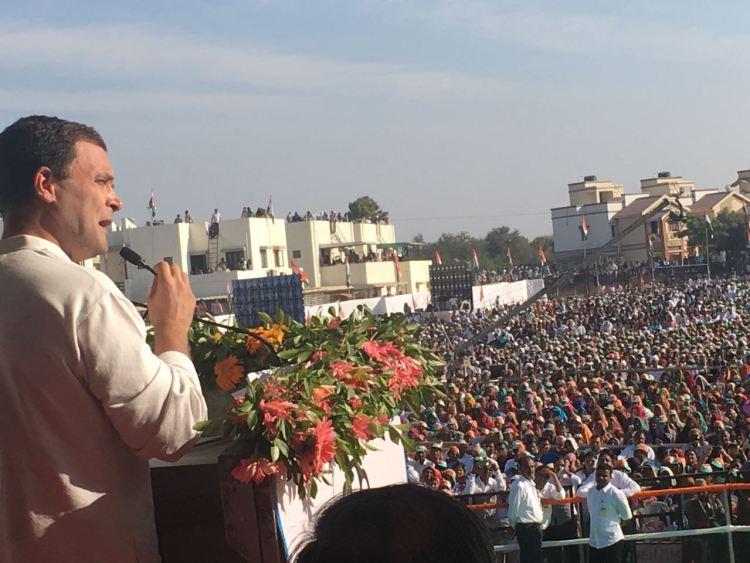 Raul Gandhi at the Mehsana rally. Credit: Damayantee Dhar