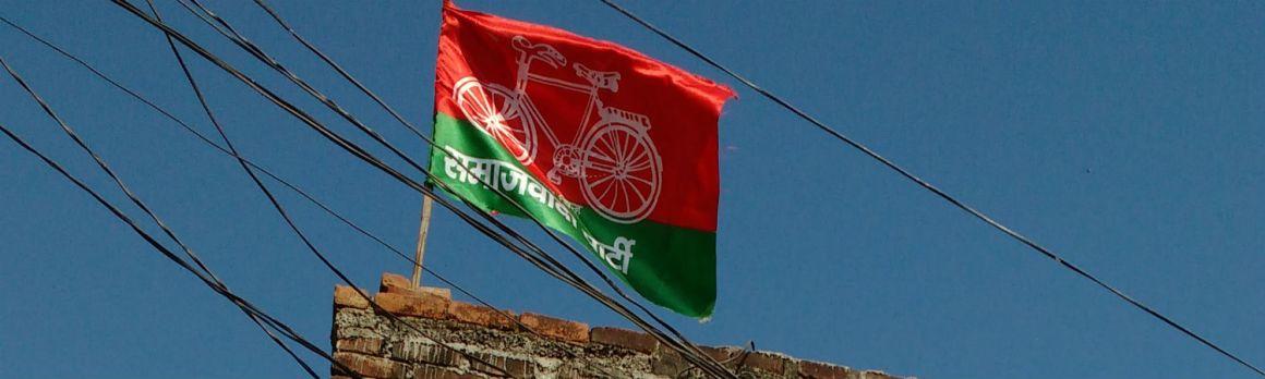 A Samajwadi Party flag on the victim's house. Credit: Rajan Pandey