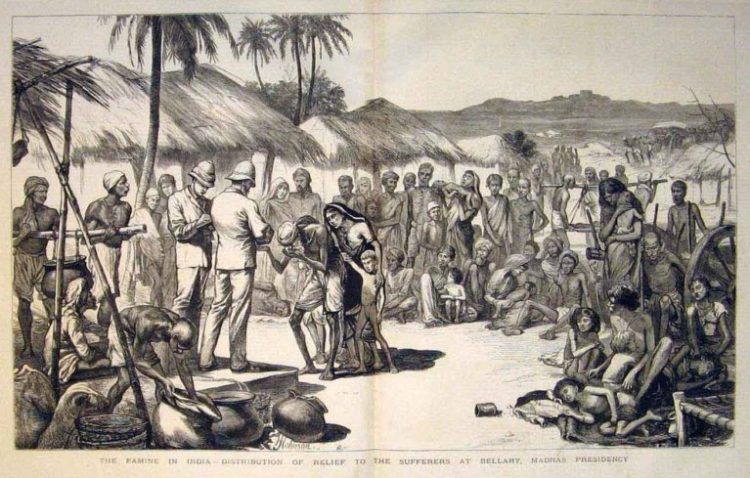 A contemporary print of the Madras famine of 1877 showing the distribution of relief in Bellary, Madras Presidency. From the Illustrated London News, (1877). Image used for representation. Credit: Wikimedia Commons