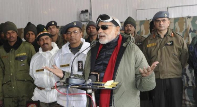 India's Prime Minister Narendra Modi addresses Army officers and soldiers at a base camp during his visit to Siachen October 23, 2014. Credit: Reuters/Files