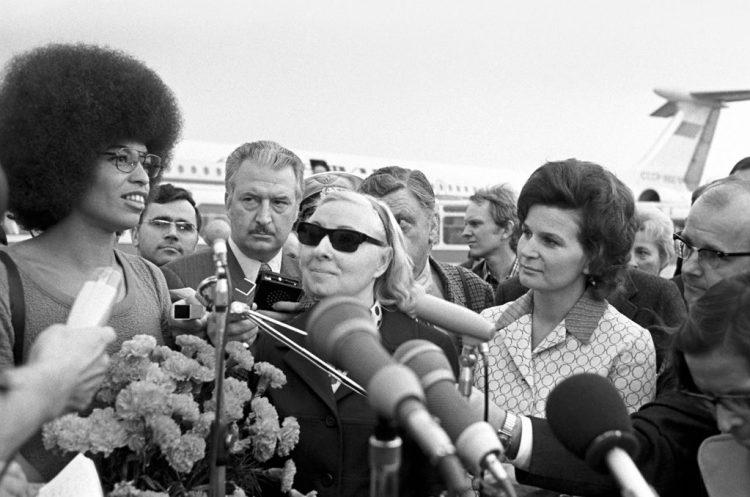 File photo of Angela Davis (left) and Russian cosmonaut Valentina Tereshkova (right). Credit: RIAN Archive