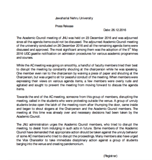 The JNU administration's press release