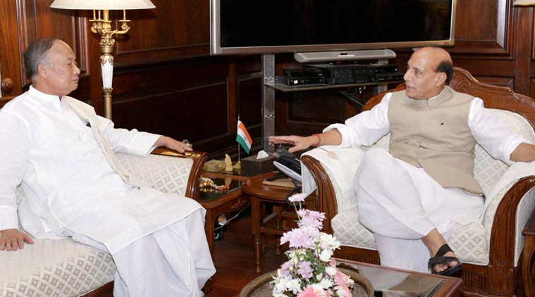 Ibobi Singh meeting Rajnath Singh in June. Credit: PTI/Files