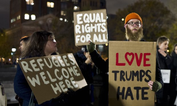 Protestors against Donald Trump in Washington Square Park in New York in November. Credit: Muhammed Muheisen/AP