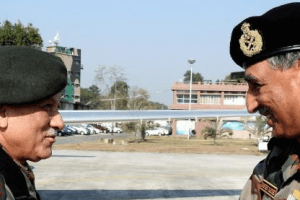 Army Chief General Bipin Rawat is welcomed by Lt. Gen. Praveen Bakshi, GOC-in-C Eastern Command, on his arrival at Tezpur Airport on Tuesday. Credit: PTI