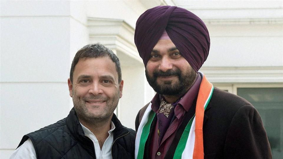 Congress Vice-President Rahul Gandhi welcomes Navjot Singh Sidhu into the party at his residence in New Delhi on Sunday. Credit: PTI