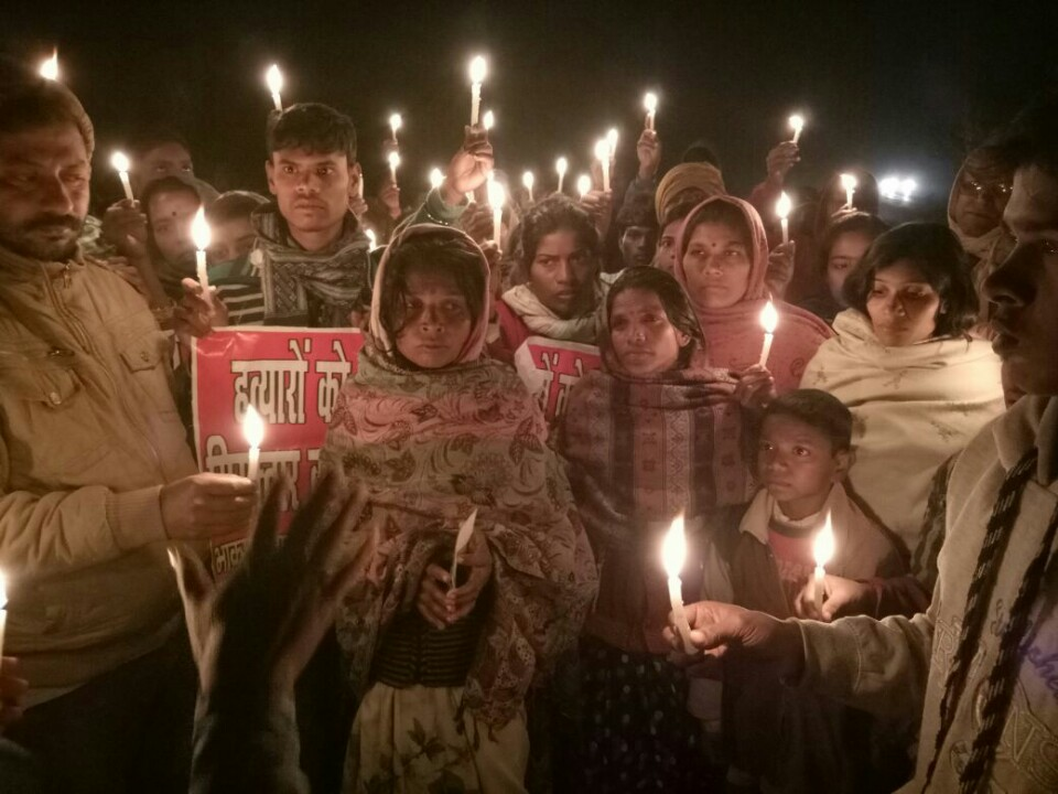 Candle march led by Dika's mother. Credit: Nikhil Kumar
