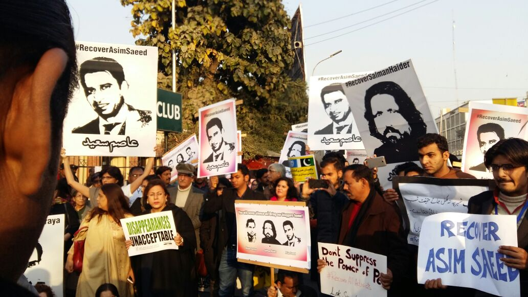 Citizens and activists protest in Pakistan over the disappearance of at least five human rights activists in the past week. Credit: Twitter