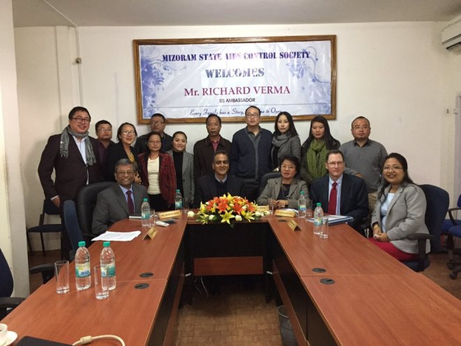 US ambassador Richard Verma with the officials of Mizoram State AIDS Control Society. Credit: Twitter