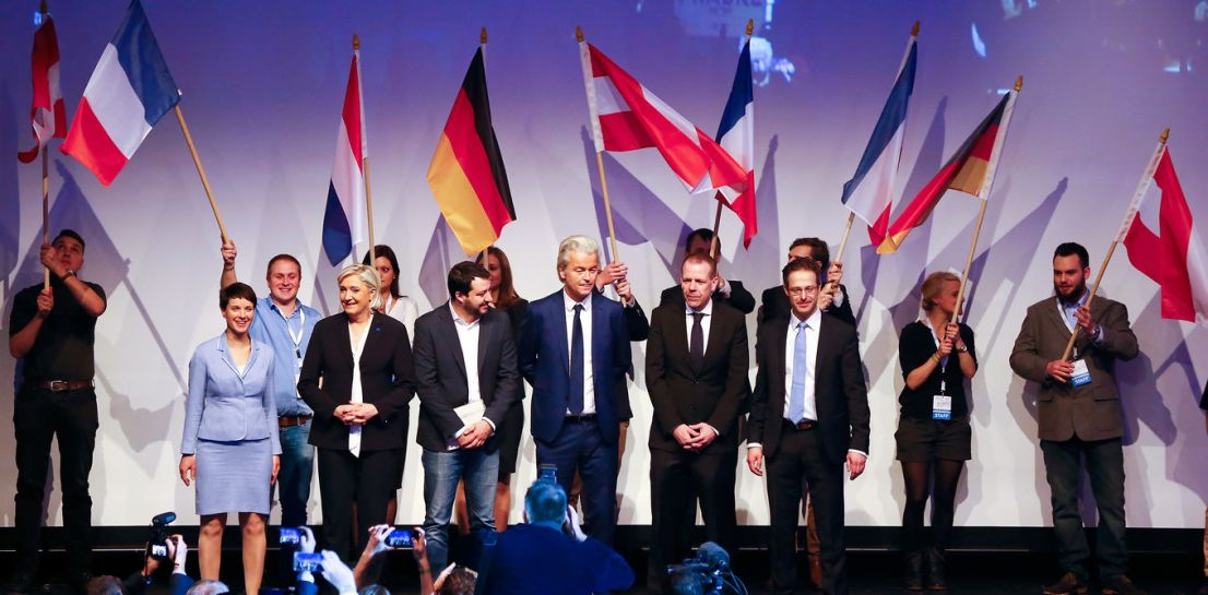 (L-R) Germany's Alternative for Germany (AfD) leader Frauke Petry, France's National Front leader Marine Le Pen, Italian Matteo Salvini of the Northern League, Netherlands' Party for Freedom (PVV) leader Geert Wilders, Harald Vilimsky of Austria's Freedom Party (FPOe) and Marcus Pretzell, ENF group member of the European Parliament arrive on stage for a European far-right leaders meeting to discuss about the EU, in Koblenz, Germany, January 21, 2017. Credit: Reuters