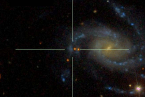 The supernova 2013fs located in a blue, star-forming area (the red point sources in the vicinity are foreground stars), which is apparently a part of one of the major arms of the spiral host NGC 7610. Caption and credit: doi:10.1038/nphys4025